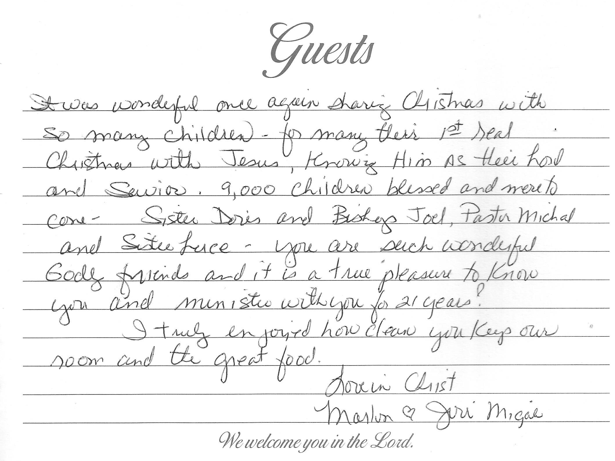A Note From Mission Team Members Grace International Inc